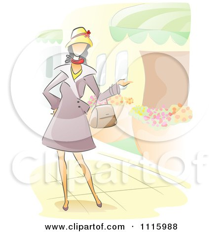 Clipart Watercolor Painted Woman Walking Through A Garden - Royalty Free Vector Illustration by BNP Design Studio