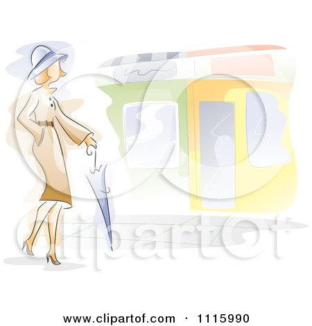 Clipart Watercolor Painted Woman Walking With An Umbrella - Royalty Free Vector Illustration by BNP Design Studio