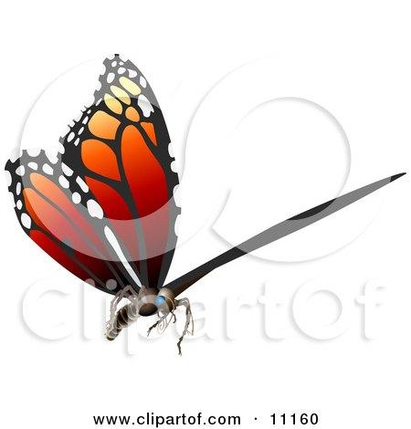 3D Monarch Butterfly Flying Clipart Illustration by AtStockIllustration