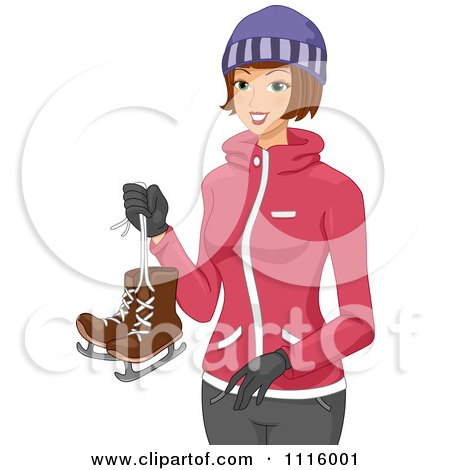 Clipart Happy Winter Woman Carrying Ice Skates - Royalty Free Vector Illustration by BNP Design Studio