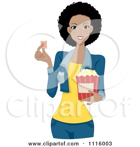 Clipart Beautiful Black Woman Holding A Movie Ticket And Popcorn - Royalty Free Vector Illustration by BNP Design Studio
