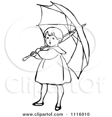 Clipart Retro Vintage Black And White Girl With An Umbrella 1