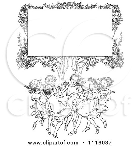 Clipart Retro Vintage Black And White Sign In A Tree Over Happy Playing Children - Royalty Free Vector Illustration by Prawny Vintage