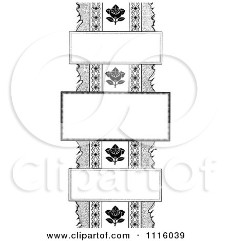 Clipart Retro Vintage Black And White Floral border With Three Frames - Royalty Free Vector Illustration by Prawny Vintage