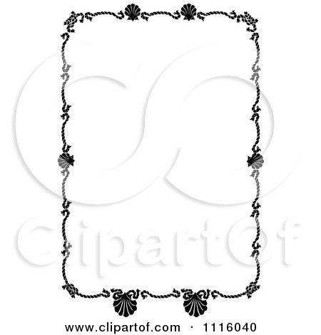 Clipart Retro Vintage Black And White Rope And Scallop Shell Nautical Border - Royalty Free Vector Illustration by Prawny Vintage