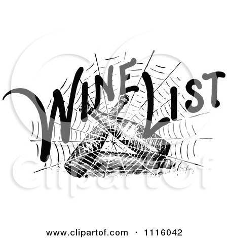 Clipart Retro Vintage Black And White Spider Web With Wind List Text Over Bottles - Royalty Free Vector Illustration by Prawny Vintage