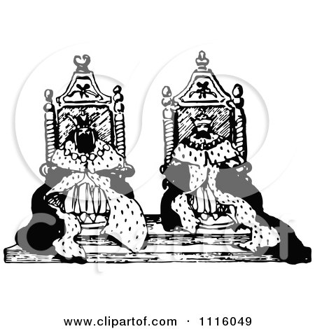 Clipart Retro Vintage Black And White Kings On Their Thrones - Royalty Free Vector Illustration by Prawny Vintage