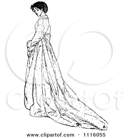 Black Long Dress on 08 29 12  15 26  Clipart Retro Vintage Black And White Girl Picking