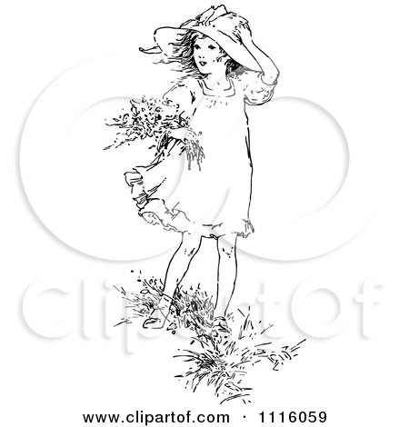 Clipart Retro Vintage Black And White Girl Picking Flowers In The Wind - Royalty Free Vector Illustration by Prawny Vintage