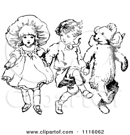 Clipart Retro Vintage Black And White Children Skipping With A Teddy Bear - Royalty Free Vector Illustration by Prawny Vintage