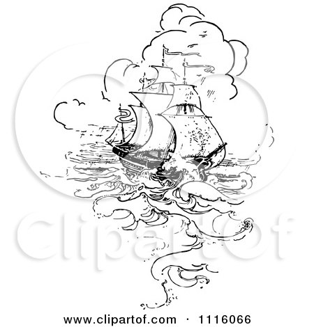 Clipart of a vintage black and white silhouetted pirate - Clipart illustration ...