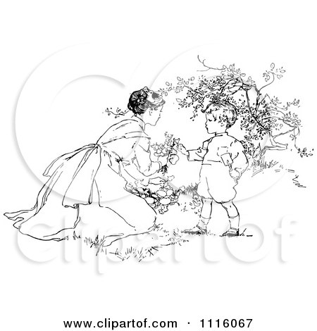 Clipart Retro Vintage Black And White Mother And Son Picking Flowers - Royalty Free Vector Illustration by Prawny Vintage