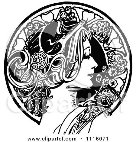 Clipart Retro Vintage Black And White Beautiful Woman In Profile And Floral Circle - Royalty Free Vector Illustration by Prawny Vintage