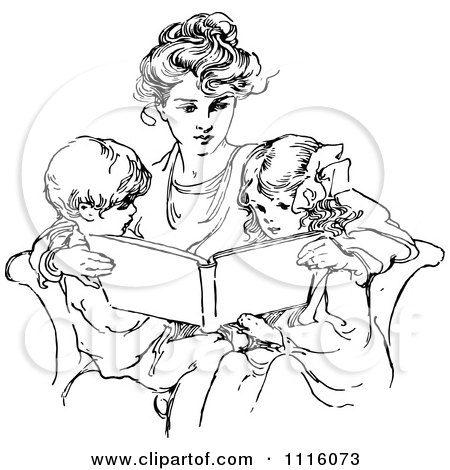 Clipart Retro Vintage Black And White Mother Reading To Her Children - Royalty Free Vector Illustration by Prawny Vintage