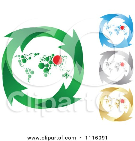 Clipart Green Blue Silver And Gold Recycle Arrow And World Map Circles - Royalty Free Vector Illustration by Andrei Marincas