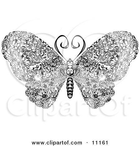 Elegantly Designed Butterfly With Swirls on its Wings Clipart Illustration by AtStockIllustration