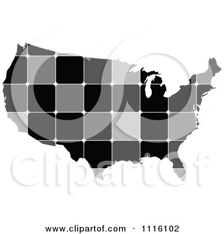 Clipart Grayscale Tiled American Map - Royalty Free Vector Illustration by Andrei Marincas