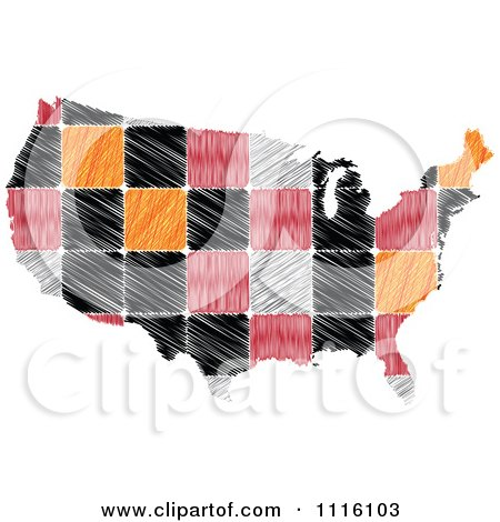 Clipart Sketched Tiled American Map - Royalty Free Vector Illustration by Andrei Marincas