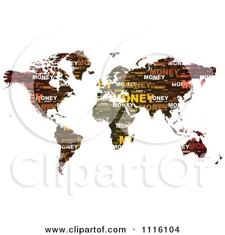 Clipart Money Word Collage Map - Royalty Free Vector Illustration by Andrei Marincas