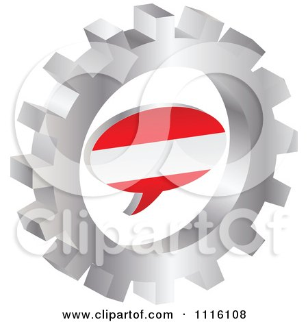 Clipart 3d Austrian Flag Chat Balloon In A Silver Gear - Royalty Free Vector Illustration by Andrei Marincas