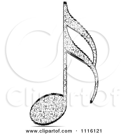 Clipart Black And White Music Note - Royalty Free Vector Illustration by Andrei Marincas