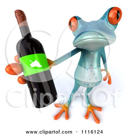 Clipart 3d Turquoise Springer Frog Holding A Wine Bottle 3 - Royalty Free CGI Illustration by Julos