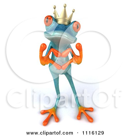 Clipart 3d Turquoise Springer Frog Prince Forming A Heart With His Hands - Royalty Free CGI Illustration by Julos