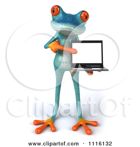 Clipart 3d Turquoise Springer Frog Holding And Pointing To A Laptop 1 - Royalty Free CGI Illustration by Julos