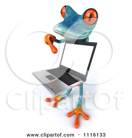 Clipart 3d Turquoise Springer Frog Holding And Pointing To A Laptop 2 - Royalty Free CGI Illustration by Julos