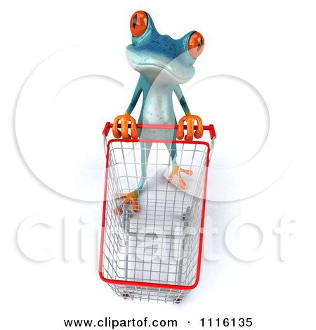Clipart 3d Turquoise Springer Frog Pushing A Shopping Cart 1 - Royalty Free CGI Illustration by Julos