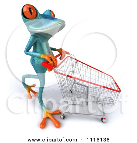 Clipart 3d Turquoise Springer Frog Pushing A Shopping Cart 2 - Royalty Free CGI Illustration by Julos