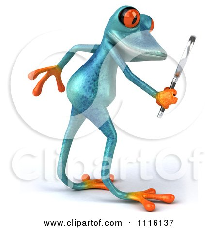 Clipart 3d Turquoise Springer Frog Using A Magnifying Glass 1 - Royalty Free CGI Illustration by Julos