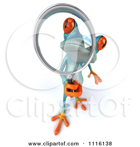 Clipart 3d Turquoise Springer Frog Using A Magnifying Glass 2 - Royalty Free CGI Illustration by Julos