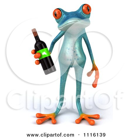 Clipart 3d Turquoise Springer Frog Holding A Wine Bottle 1 - Royalty Free CGI Illustration by Julos