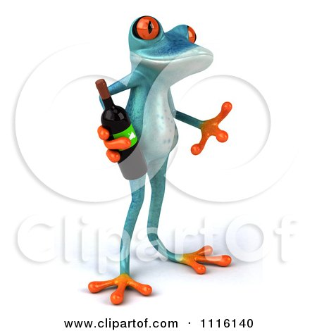 Clipart 3d Turquoise Springer Frog Holding A Wine Bottle 2 - Royalty Free CGI Illustration by Julos