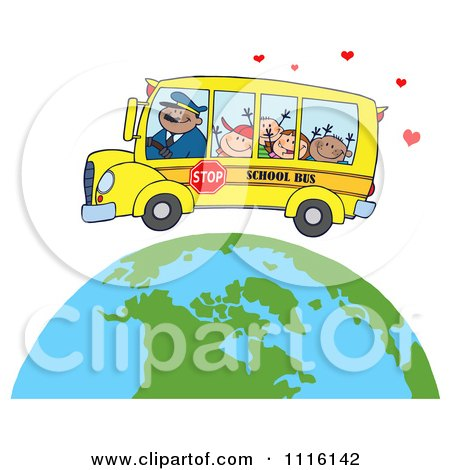 Clipart Happy School Bus Driver And Children Over A Globe With Hearts - Royalty Free Vector Illustration by Hit Toon