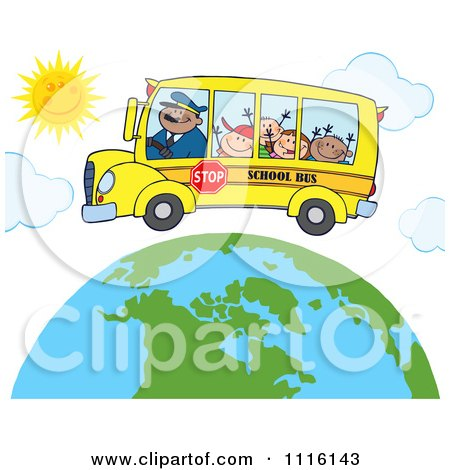 Clipart Happy School Bus Driver And Children Over A Globe With Sunshine - Royalty Free Vector Illustration by Hit Toon
