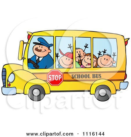 Clipart Happy School Bus Driver And Children - Royalty Free Vector Illustration by Hit Toon