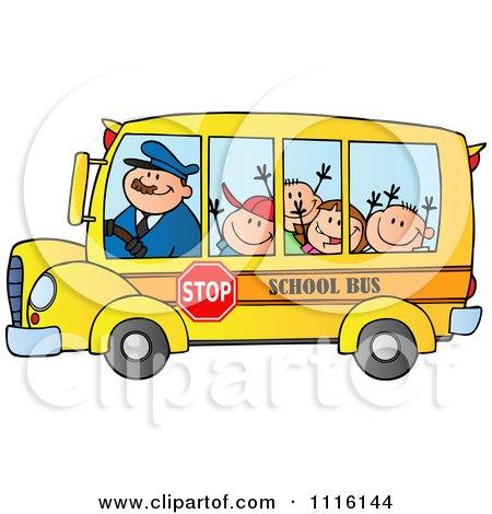 Happy School Bus Driver And Children Posters, Art Prints