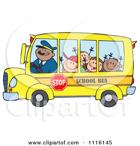 Happy School Bus Driver And  Kids Posters, Art Prints