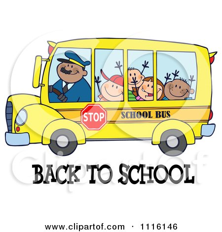 Clipart Happy Bus Driver And Children Over Back To School Text - Royalty Free Vector Illustration by Hit Toon