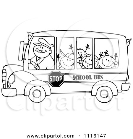Clipart Outlined Happy School Bus Driver And Children - Royalty Free Vector Illustration by Hit Toon