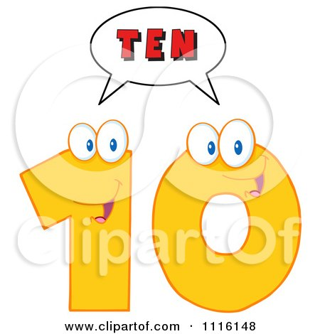 Clipart Happy Yellow Number Ten Talking 2 - Royalty Free Vector Illustration by Hit Toon