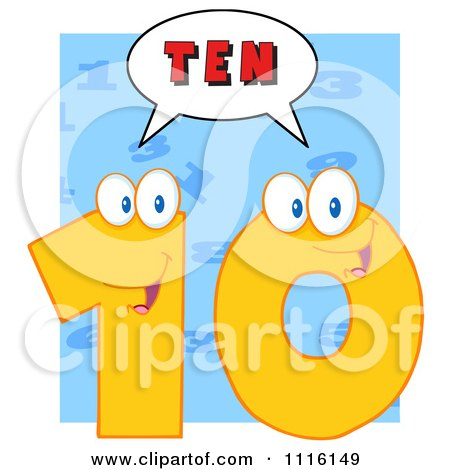 Clipart Happy Yellow Number Ten Talking 3 - Royalty Free Vector Illustration by Hit Toon