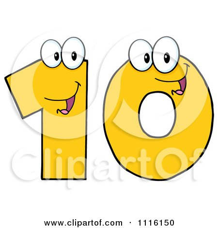 Clipart Happy Yellow Number Ten - Royalty Free Vector Illustration by Hit Toon