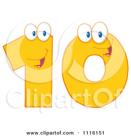 Clipart Happy Yellow Number 10 - Royalty Free Vector Illustration by Hit Toon