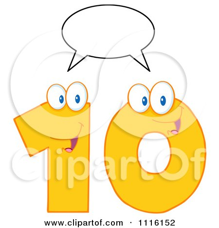 Clipart Happy Yellow Number Ten Talking 1 - Royalty Free Vector Illustration by Hit Toon