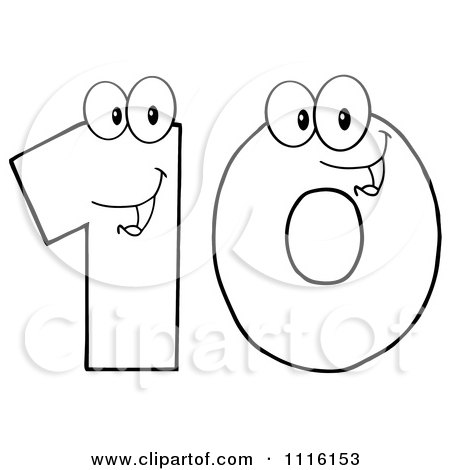 Clipart Happy Outlined Number Ten - Royalty Free Vector Illustration by Hit Toon