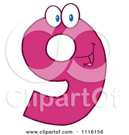 Clipart Happy Pink Number 9 - Royalty Free Vector Illustration by Hit Toon