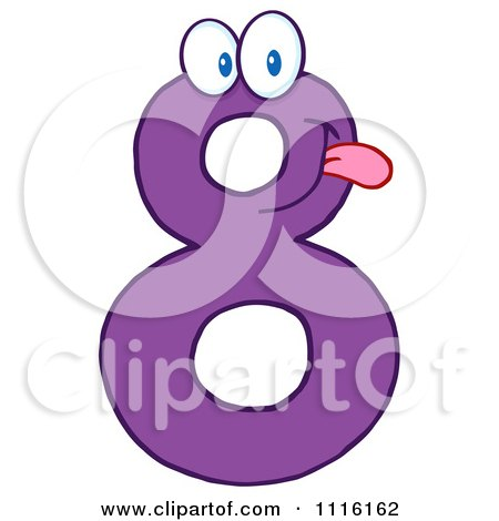 Clipart Happy Purple Number 8 - Royalty Free Vector Illustration by Hit Toon